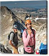 Two Male Hiker Stop To Look Canvas Print