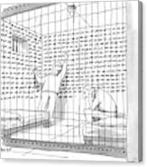 Two Men In A Jail Cell. One Is Examining A Wall Canvas Print