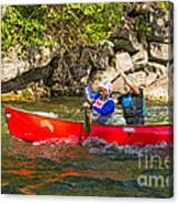 Two Men In A Tandem Canoe Canvas Print