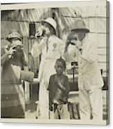 Two Men In Tropical Clothing And A Woman Drinking From Bowls Canvas Print