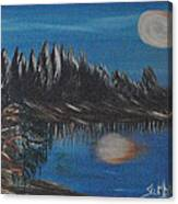 Two Moons That Meet In The Night Canvas Print