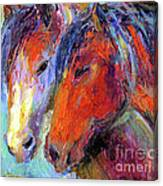 Two Mustang Horses Painting Canvas Print