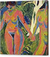 Two Nude Women In A Wood Canvas Print