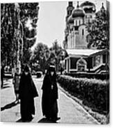 Two Nuns- Black And White - Novodevichy Convent - Russia Canvas Print