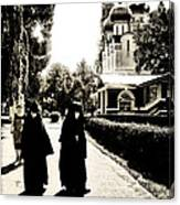 Two Nuns - Sepia - Novodevichy Convent - Russia Canvas Print