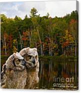 Two Owlets At A Lakeshore Canvas Print