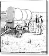 Two Pioneers Discuss The Wheels Of Their Wagon Canvas Print