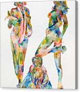 Two Psychedelic Girls With Chimp And Banana Portrait Canvas Print