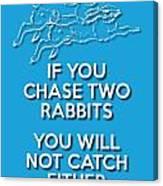 Two Rabbits Blue Canvas Print