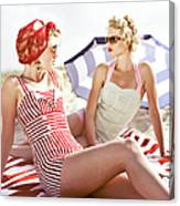 Two Retro Young Women On Beach Canvas Print