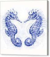 Two Seahorses- Blue Canvas Print