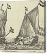 Two Ships A Statenjacht And An Interpreter Canvas Print