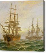 Two Ships Passing At Sunset Canvas Print