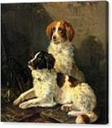 Two Spaniels Waiting For The Hunt Canvas Print