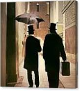 Two Victorian Men Wearing Top Hats In The Old Alley Canvas Print