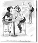 Two Women Sitting At A Coffee Shop Speak Canvas Print