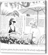 Two Women Speak At A Cafe Speak Canvas Print