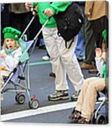 Two Young Girls Marching In The 2009 New York St. Patrick Day Parade Canvas Print