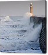 Tynemouth North Pier With Waves Canvas Print