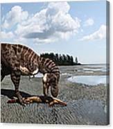 Tyrannosaurus enjoying seafood - wide format Canvas Print