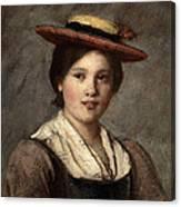 Tyrolean Dirndl With Straw Hat Canvas Print