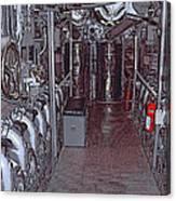 U S S Bowfin Submarine Engine Room Canvas Print
