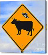 Ufo Cattle Crossing Sign In New Mexico Canvas Print