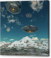 Ufos Flying Over A Mountain Range Canvas Print