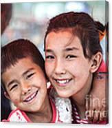 Uighur Children At Kashgar Market Xinjiang China Canvas Print
