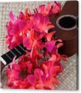 Ukulele And Red Lei Canvas Print
