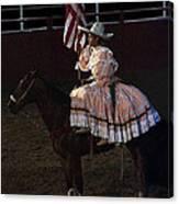 July 4th Rodeo Hispanic Female Rider Charreada Chandler Arizona 1999-2014 Canvas Print