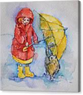 Umbrella Girl With A Kitty Canvas Print