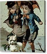 Umbrella In The Snow, Victorian Postcard Canvas Print