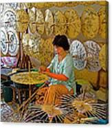 Umbrella Maker At Borsang Umbrella And Paper Factory In Chiang Mai-thailand Canvas Print