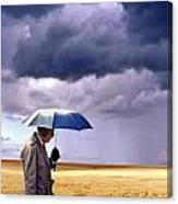 Umbrella Man In Kansas Wheat Field Canvas Print