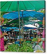 Umbrellas In The Marketplace In Tachilek-burma Canvas Print