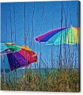 Umbrellas On Sanibel Island Beach Canvas Print