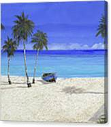 Una Barca Blu Canvas Print