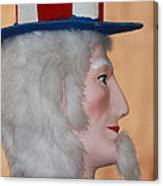 Uncle Sam Closeup Red White And Blue Canvas Print