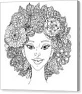 Uncolored Girlish Face For Adult Canvas Print