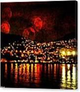 Corinth Under A Milti Moon Sky Canvas Print