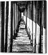 Under Huntington Beach Pier Black And White Picture Canvas Print