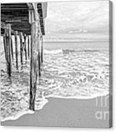 Under The Boardwalk Black And White Canvas Print