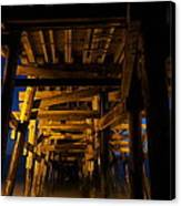 Under The Pier At Night Canvas Print