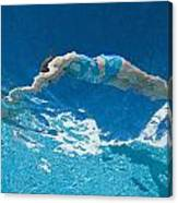 Underwater View Of Woman Diving Into Canvas Print