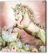Unicorn And A Rose Canvas Print