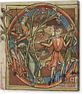 Unicorn Enticed By A Virgin Canvas Print