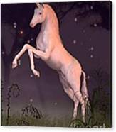 Unicorn In A Moonlit Forest Glade Canvas Print