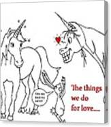 Unicorn Valentines Card Canvas Print