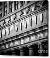 Union Station Chicago Sign In Black And White Canvas Print